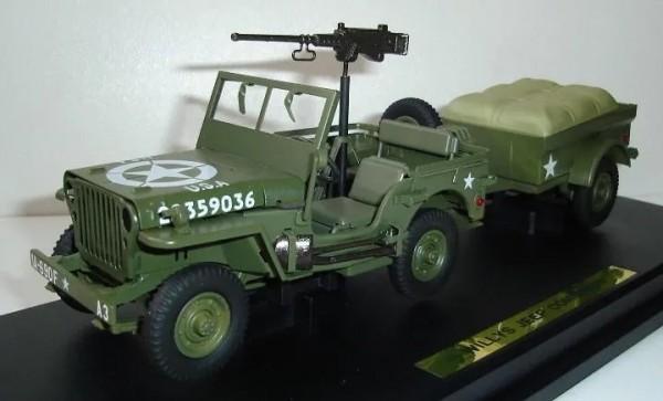 KADEN Willys Jeep MB mit Hänger Ansicht links