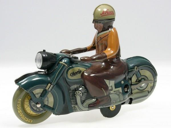 Schuco Motorrad CHARLY dunkelgrün Ansicht links