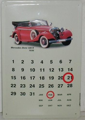 Blechschild Mercedes-Benz Blechkalender Reklameschild