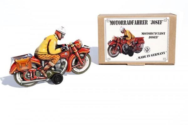 """Tipp & Co. - Josef Wagner Nachbau Motorrad """"Josef"""" mit Friktionsantrieb Ansicht rechts mit Karton"""