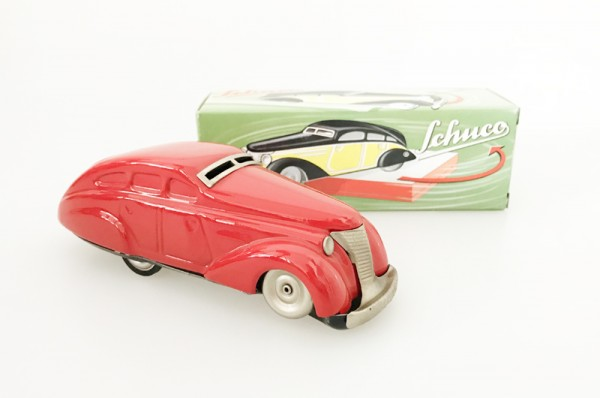 Schuco Classic Wendeauto rot Ansicht rechts mit Karton