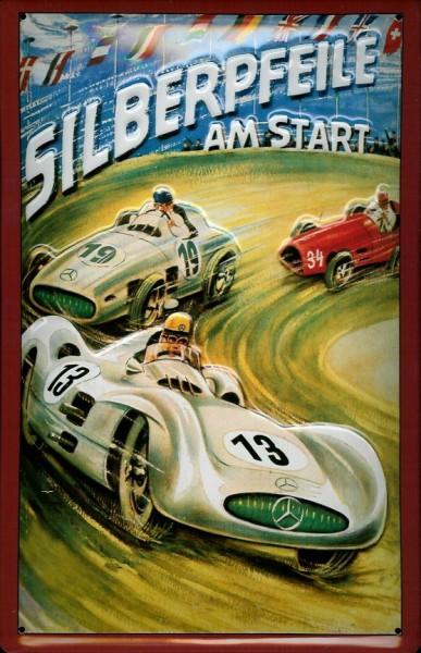 Blechschild Mercedes-Benz Silberpfeil Reklameschild