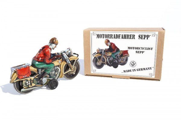 Tipp & Co. - Josef Wagner Nachbau Motorrad Neuheit 2019 mit Friktionsantrieb Ansicht rechts mit Karton