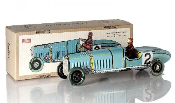 Paya Rennwagen mit Rennfahrer und Karton Ansicht links
