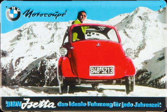 Blechschild Mercedes-Benz BMW Isetta Reklameschild