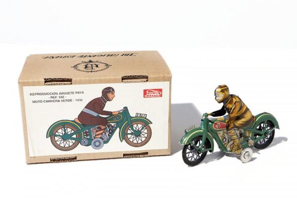 Paya Motorrad mit Rennfahrer und Karton Ansicht rechts