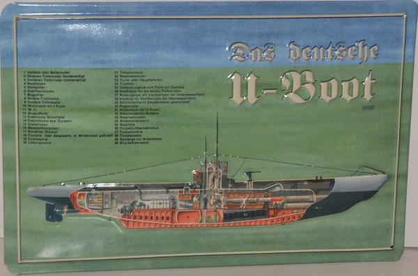 """Blechschild """"Das deutsche U-Boot"""""""