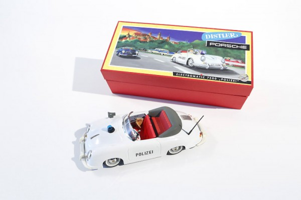 Schuco Polizei - Distler Porsche 356 Cabriolet Modell Ansicht links oben + Karton