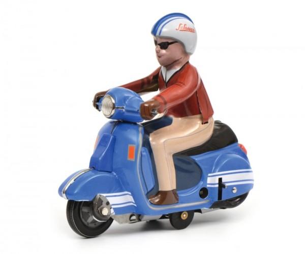 Schuco Motorrad Scooter blau Ansicht links