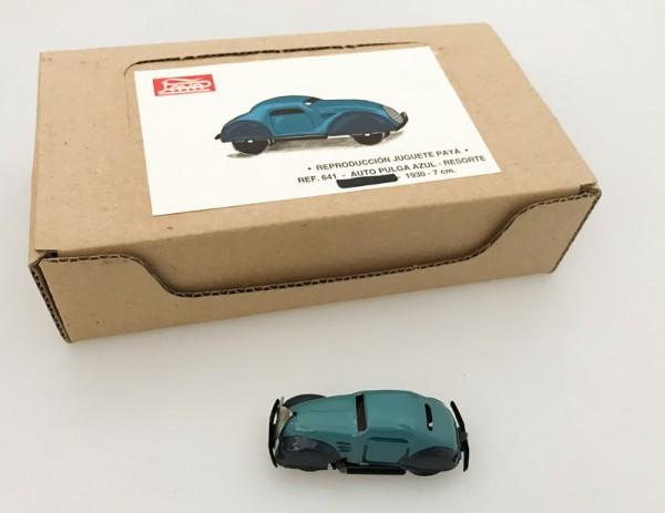 Paya Pulga Oldtimer Coupé blau und Karton Ansicht links