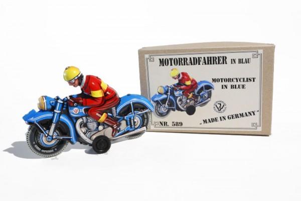 Tipp & Co. - Josef Wagner Nachbau Motorrad blau mit Friktionsantrieb Ansicht links mit Karton