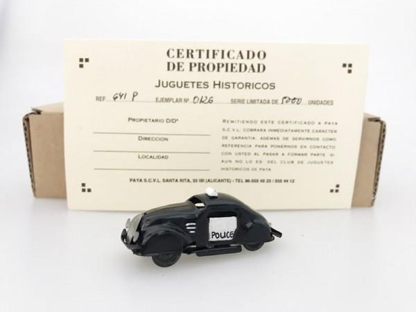 Paya Pulga Polizeiauto und Karton und Zertifikat Ansicht links