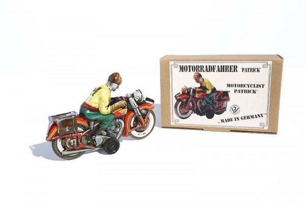 """Tipp & Co. - Josef Wagner Nachbau Motorrad """"Patrick"""" mit Friktionsantrieb Ansicht rechts mit Karton"""